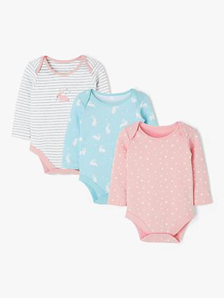82a7eedf John Lewis & Partners Baby Bunny Long Sleeve Bodysuits, Pack of 3, Multi