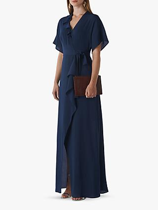 Whistles Nova Frill Wrap Maxi Dress, Navy