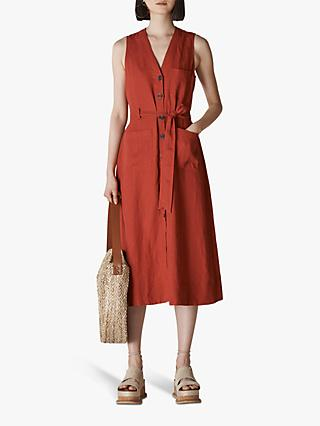 Whistles Military Tie Front Linen Dress, Rust