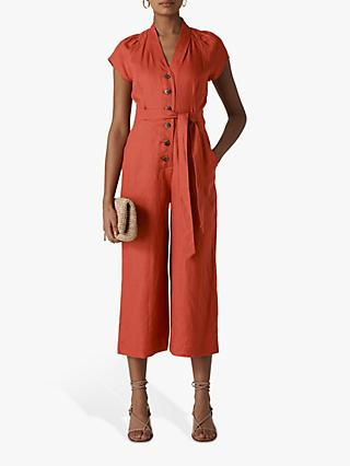Whistles Sana Linen Button Jumpsuit, Rust