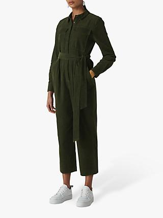 Whistles Cord Utility Jumpsuit, Dark Green