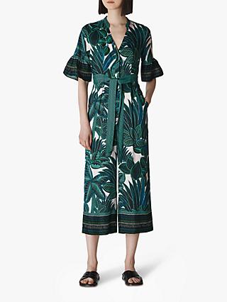 Whistles Palm Print Tie Jumpsuit, Blue/Multi