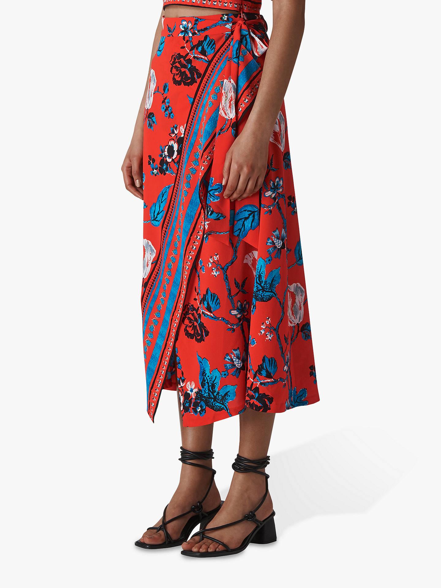 ab70e8433 Buy Whistles Scarf Print Wrap Midi Skirt, Red/Multi, 6 Online at johnlewis  ...