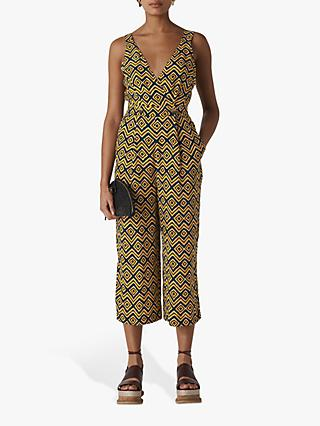 Whistles Zig Zag Lara Button Jumpsuit, Yellow/Multi