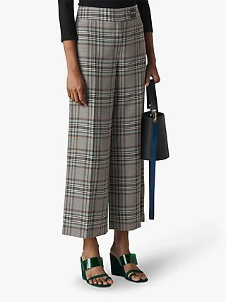 Whistles Cara Check Wide Leg Trousers