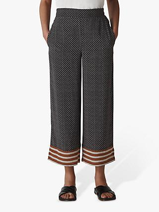 Whistles Foulard Casual Cropped Trousers, Navy/Multi