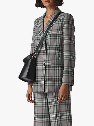 Whistles Check Double Breast Blazer, Grey/Multi