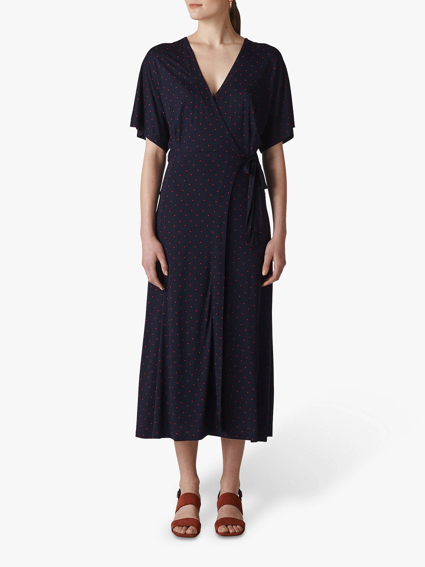 ff24910eebf Buy Whistles Spot Wrap Jersey Dress, Navy/Multi, 6 Online at johnlewis.