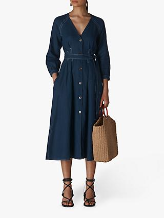 Whistles Tansey Linen Midi Dress, Navy