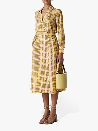 Whistles Painted Check Wrap Dress, Yellow/Multi
