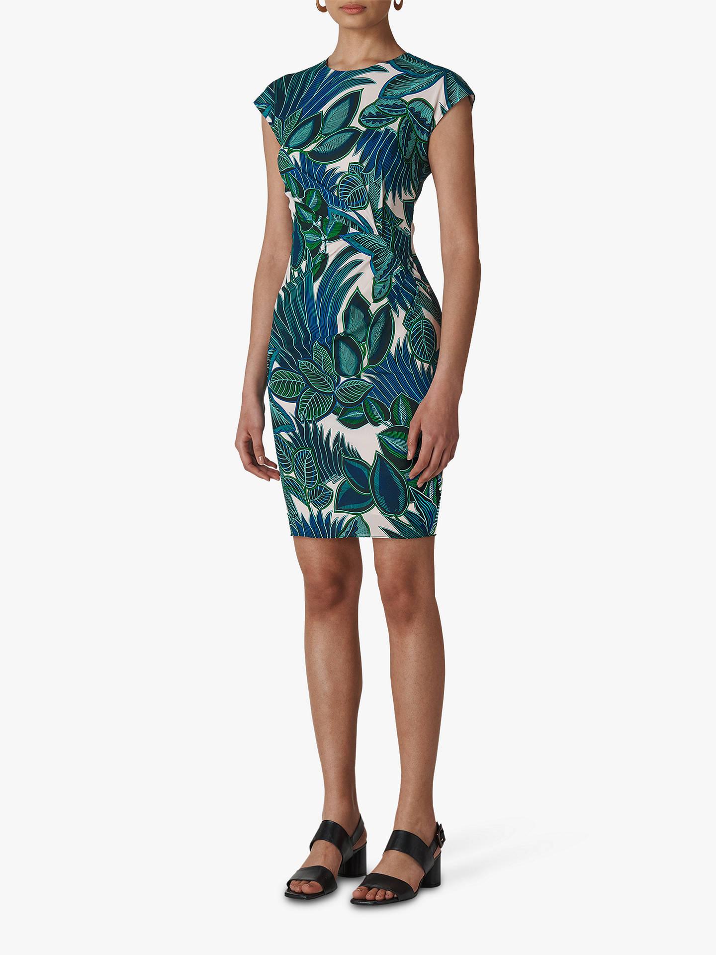 59b77248651dc Whistles Palm Print Silk Blend Bodycon Dress, Blue/Multi