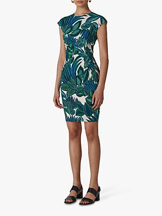 Whistles Palm Print Silk Blend Bodycon Dress, Blue/Multi