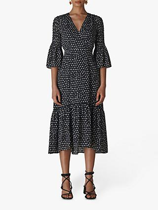 Whistles Advika Spot Frill Midi Dress, Navy/Multi