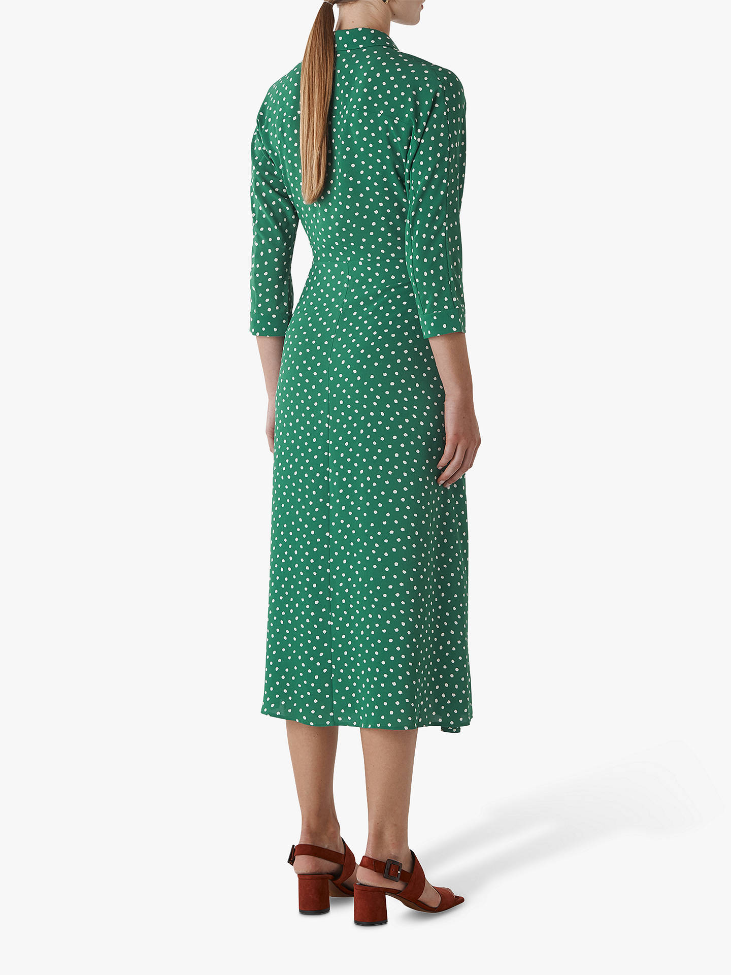 Buy Whistles Selma Twist Front Spot Print Shirt Dress, Green/Multi, 6 Online at johnlewis.com