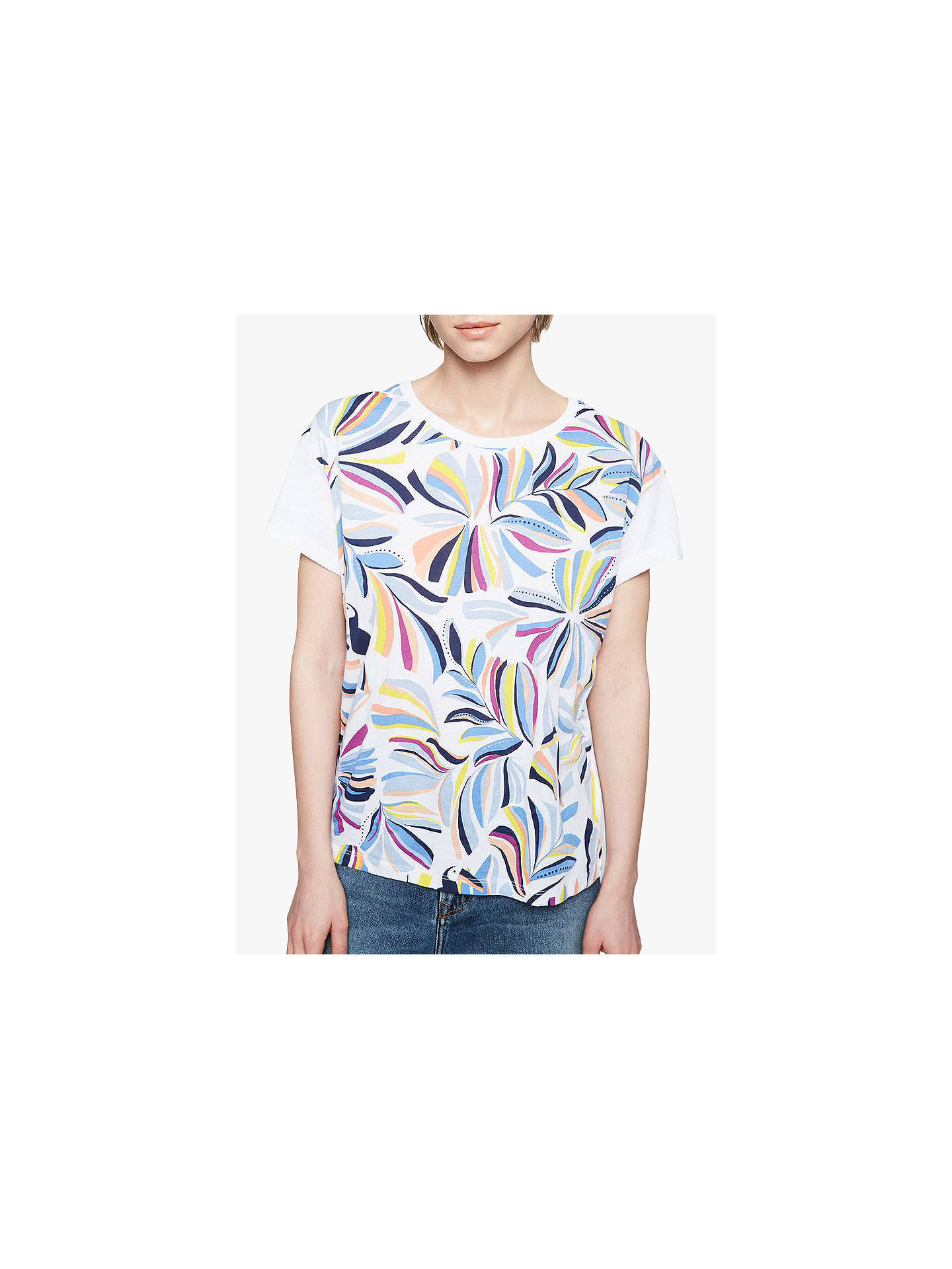 Buy ARMEDANGELS Naalin Organic Cotton Print T-Shirt, White, XS Online at johnlewis.com