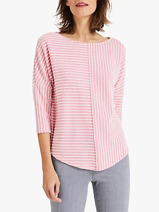 Phase Eight Tess Textured Striped Top, Pink/Ivory