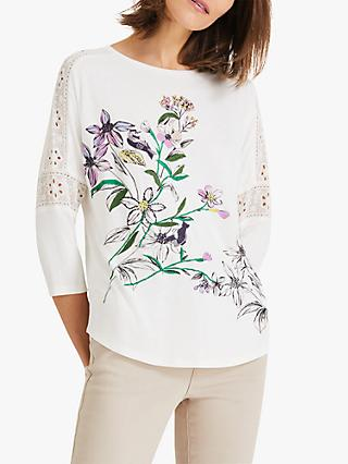 Phase Eight Peggy Bird Print Top, Ivory/Multi