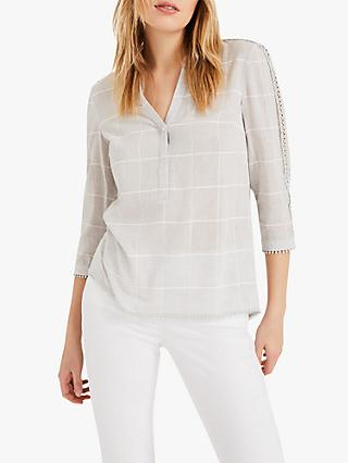Phase Eight Lynsey Check Blouse, Grey