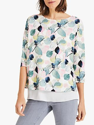 Phase Eight Laina Leaf Print Top, Ivory/Multi