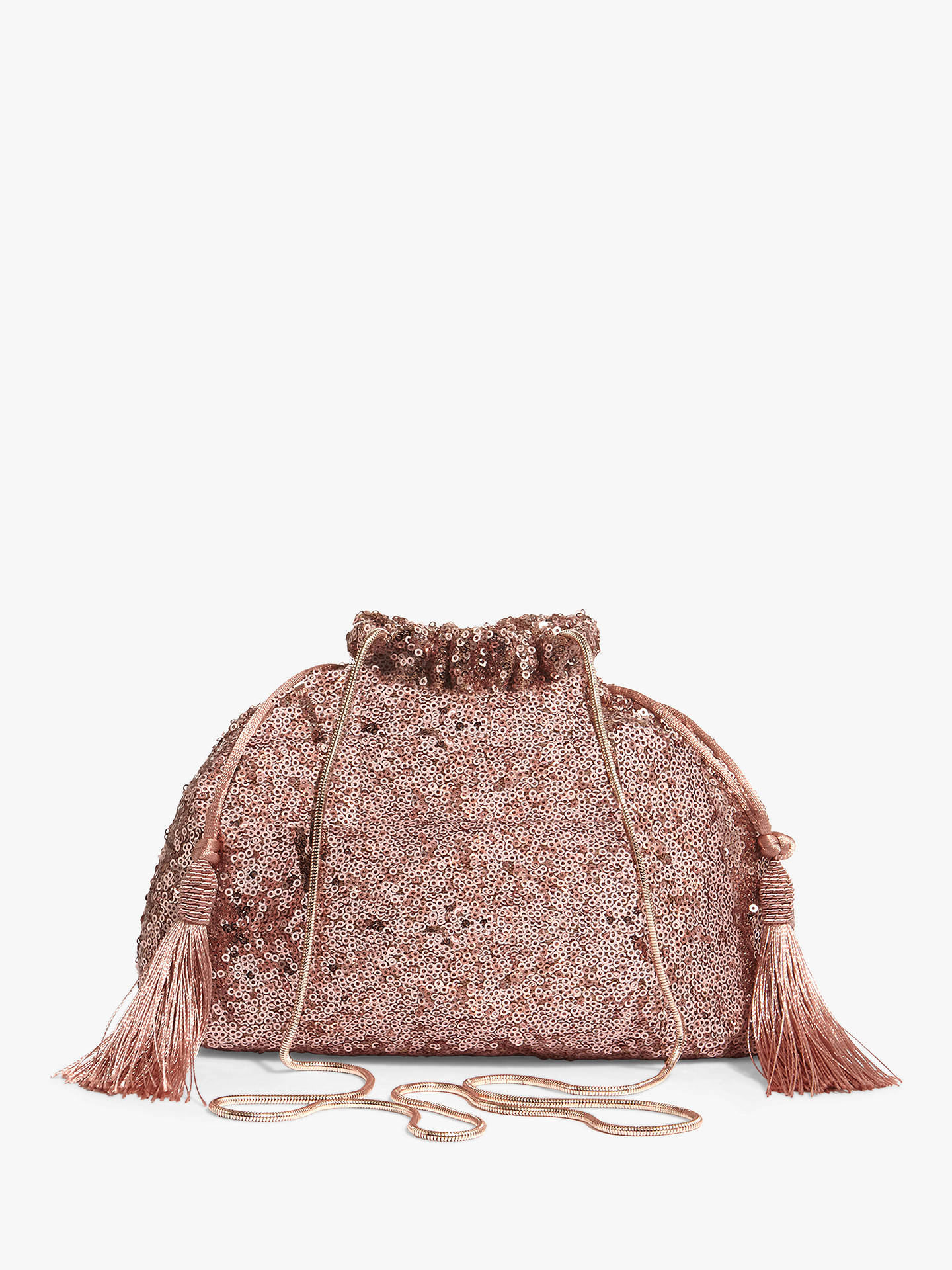 Buy Phase Eight Georgina Sequined Drawstring Bag, Rose Gold Online at johnlewis.com