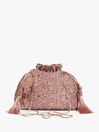 Phase Eight Georgina Sequined Drawstring Bag, Rose Gold