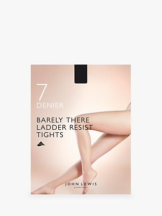 John Lewis & Partners 7 Denier Barely There Ladder Resist Tights, Pack of 1