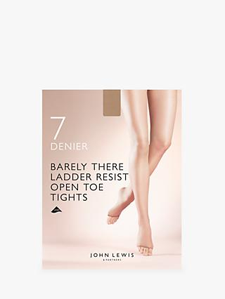 dcf4ed0dc9fc0 John Lewis & Partners 7 Denier Barely There Ladder Resist Open Toe Tights,  Pack of
