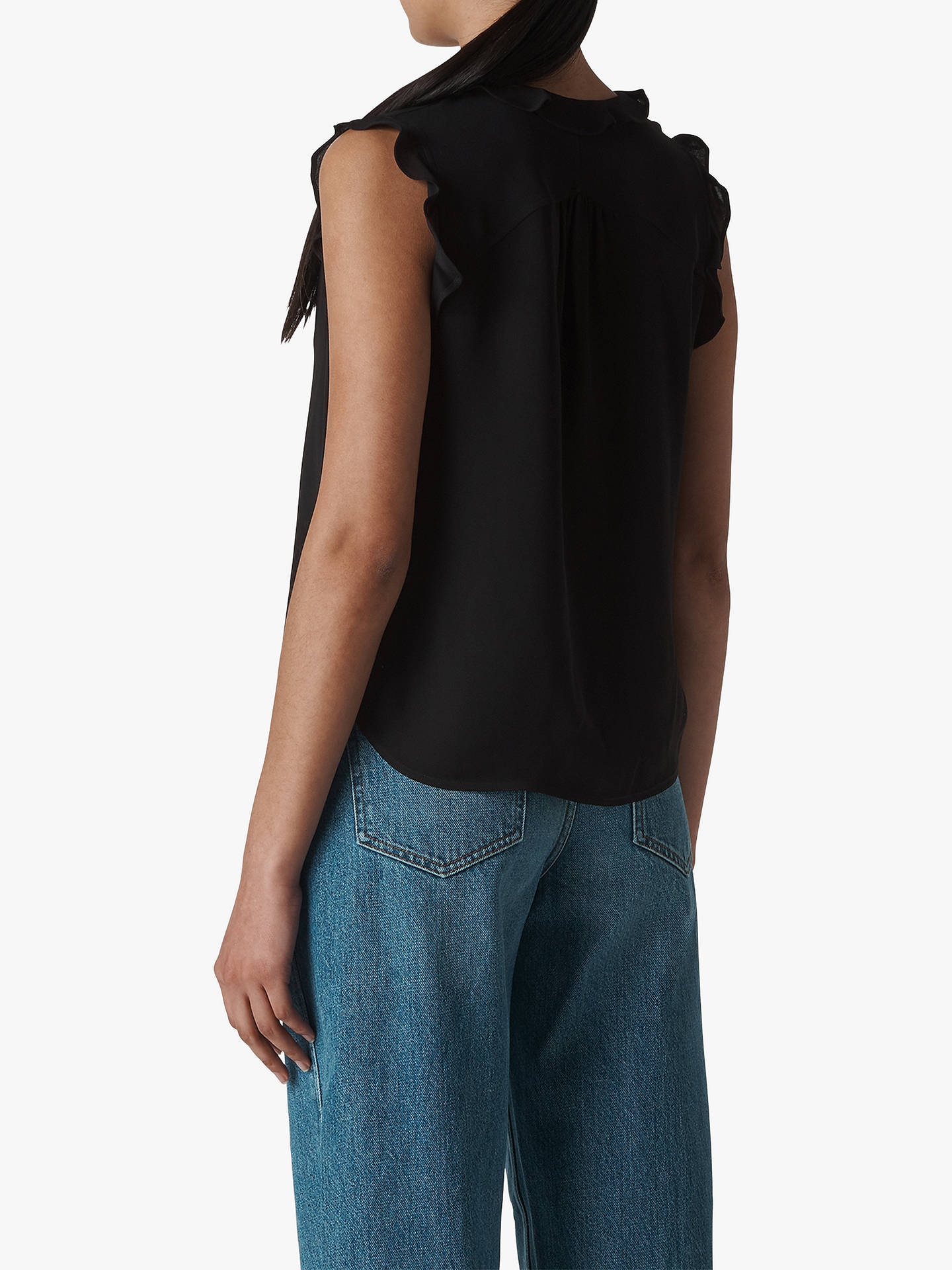 9b1fac96f ... Buy Whistles Emily Frill Detail Top, Black, 6 Online at johnlewis.com  ...