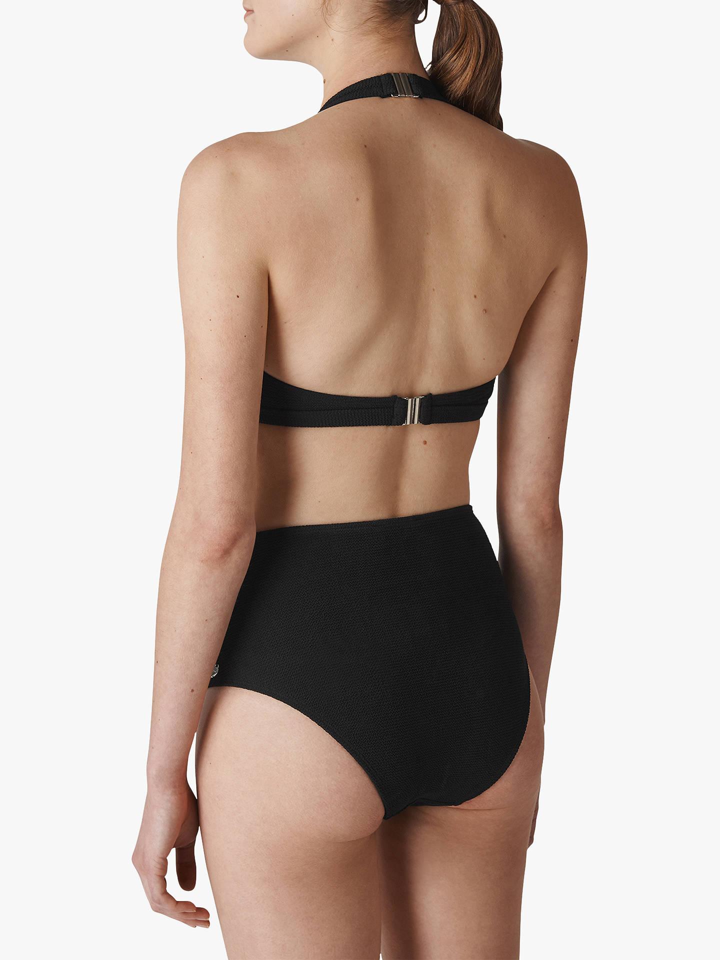 ce2b9675c87 Buy Whistles Klara Minimal Textured Halter Bikini Top, Black, 14 Online at  johnlewis.