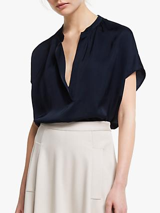 Winser London Satin V-Neck Top, Midnight