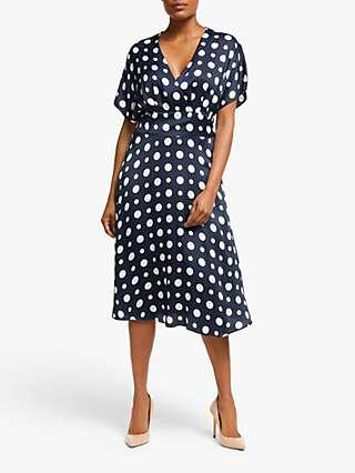 Winser London Satin Wrap Over Dress, Midnight Navy/Ivory