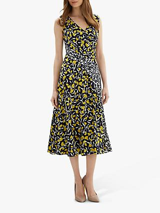 Jaeger Contrast Floral Dress, Navy/Multi