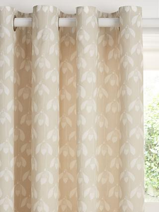 Scion Snowdrop Pair Lined Eyelet Curtains, Natural