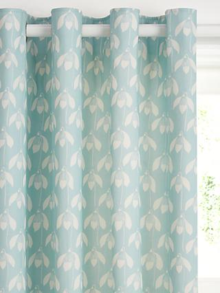 Scion Snowdrop Pair Lined Eyelet Curtains, Blue