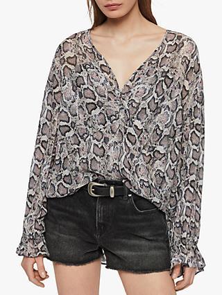 549068bd3f5 AllSaints Penny Misra Snake Print Top