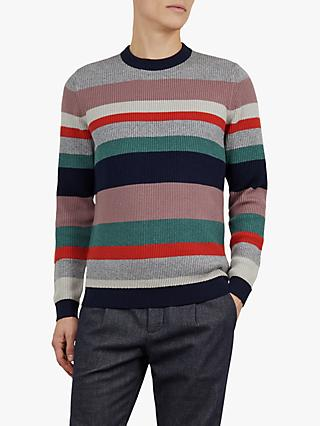 Ted Baker Krena Stripe Ribbed Jumper, Pink Mid
