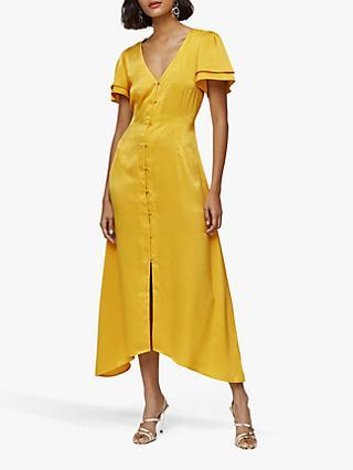 232099257a Warehouse Satin Frill Tea Dress