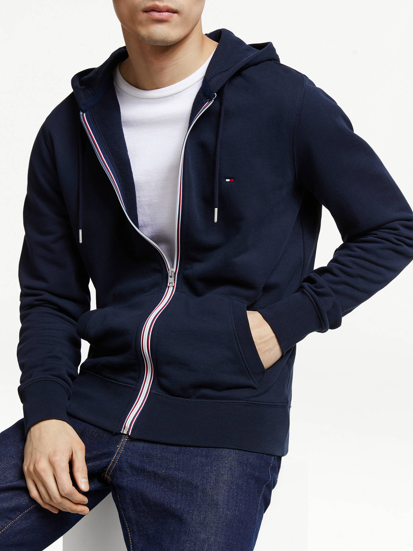 6862973e4307c Buy Tommy Hilfiger Signature Tape Zip Hoodie, Sky Captain, L Online at  johnlewis.