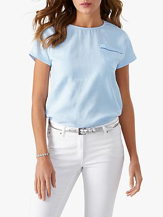 Pure Collection Laundered Linen Top, Pale Blue