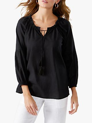 Pure Collection Tassel Blouse, Black