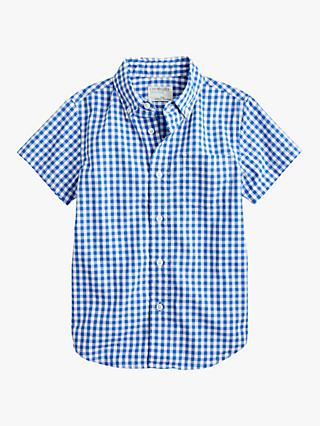 crewcuts by J.Crew Boys' Gingham Poplin Shirt, Blue