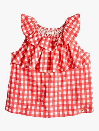 523df9580c47d1 crewcuts by J.Crew Girls' Olivia Gingham Ruffle Top, Lajolla Red