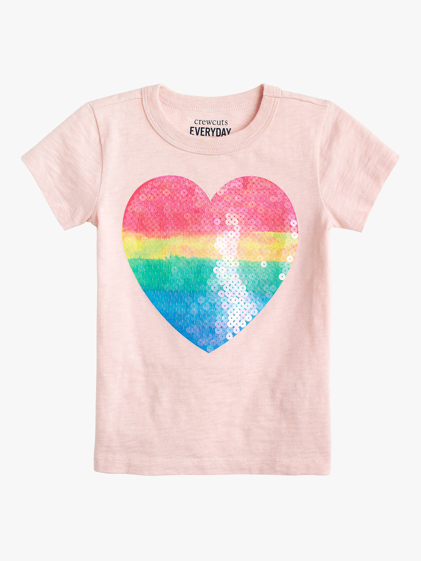 34aaf89e252 crewcuts by J.Crew Girls' Sequin Heart T-Shirt, Sunwashed Pink at ...