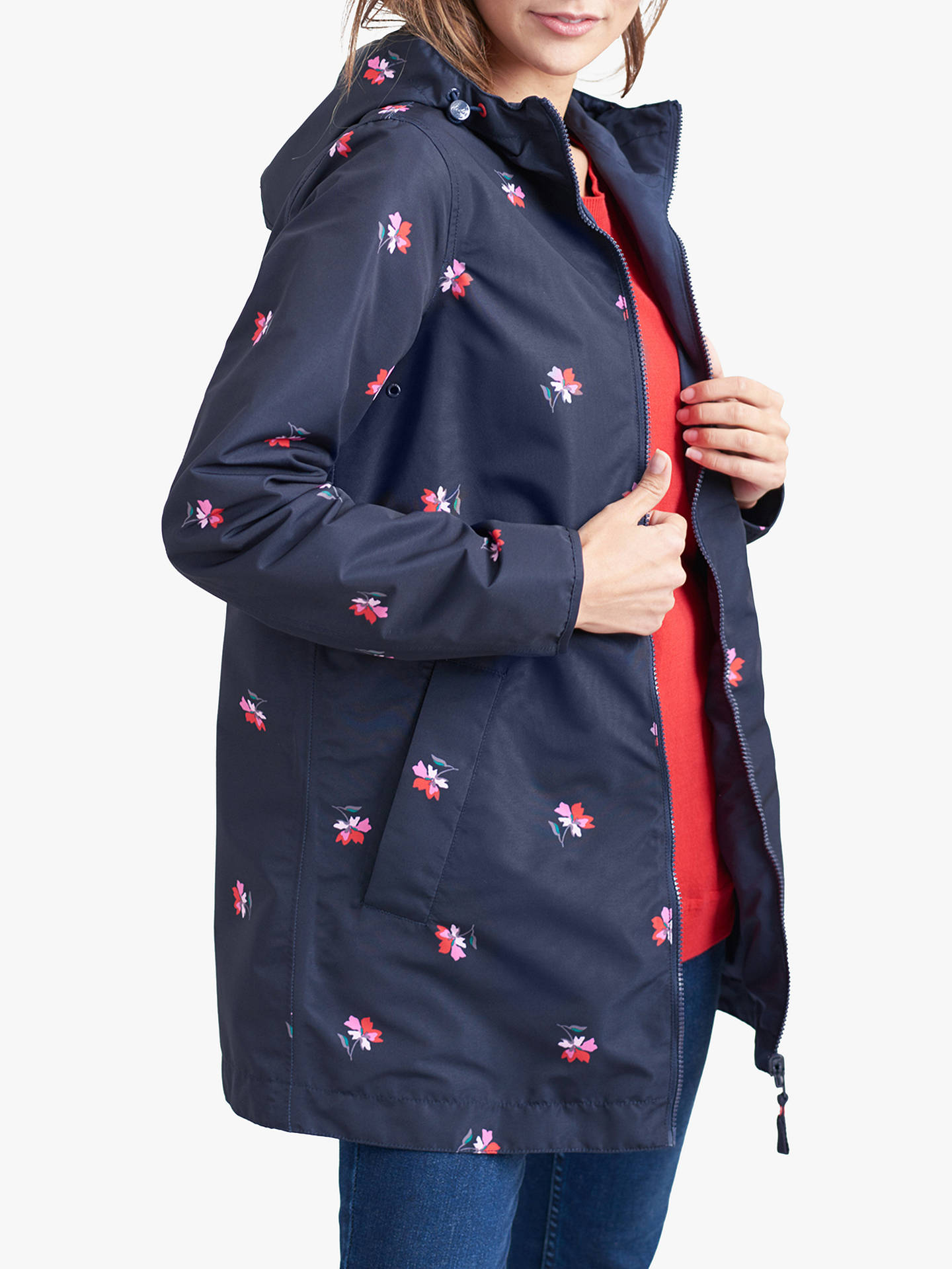 0b70d72101 Joules Dockland Reversible Posy Print Raincoat, Navy at John Lewis ...