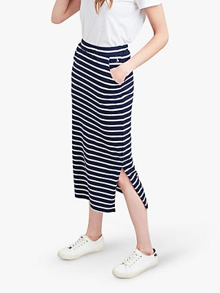 Joules Amara Stripe Jersey Midi Skirt, Navy/Cream