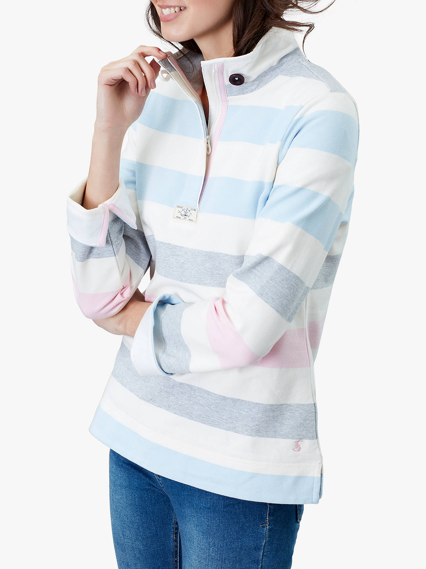 e5fdb81d Buy Joules Saunton Stripe Funnel Neck Sweatshirt, Blue, 14 Online at  johnlewis.com ...
