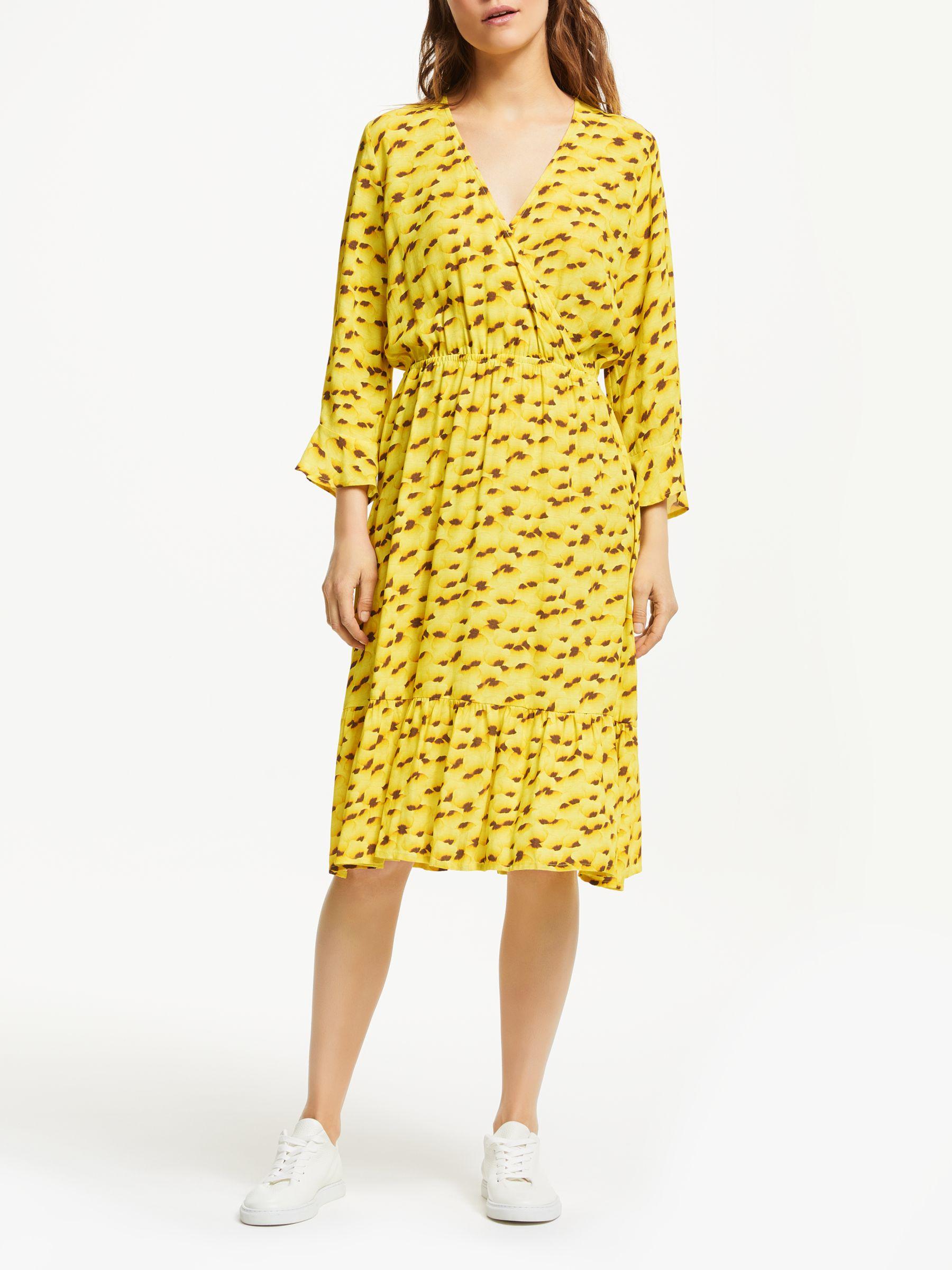 99064e40 Numph Kamila Dot Print Wrap Ruffle Dress, Yellow Pear at John Lewis &  Partners