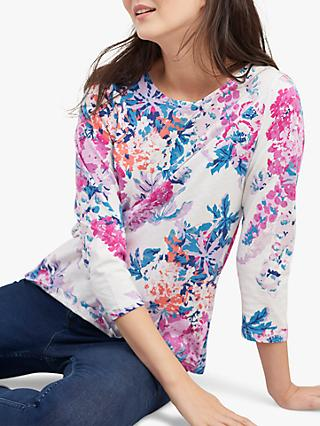 Joules Harbour Floral Print Jersey Top, Cream