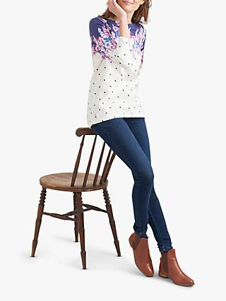 Joules Harbour Floral Spot Jersey Top, Cream