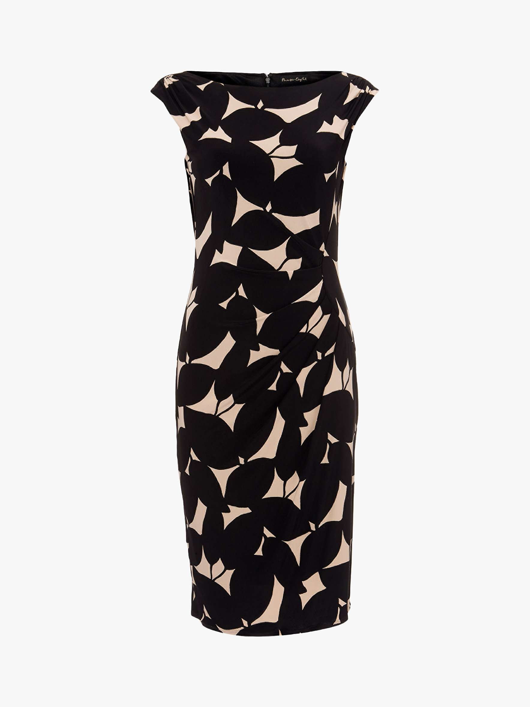Phase Eight Laurita Leaf Dress, Black/Camel